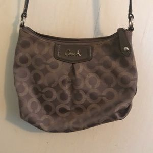 Coach gray crossbody bag thin leather strap